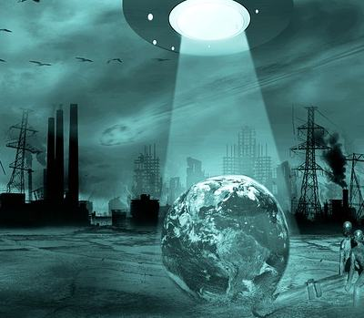 aliens lifting a world into a spaceship's beam